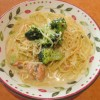 サイゼリヤブロッコリーとサーモンのクリームスパゲッティサムネイル