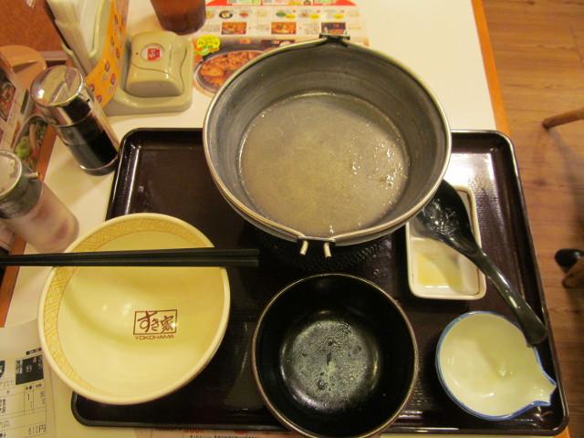 すき家鶏つくね鍋定食を完食完飲