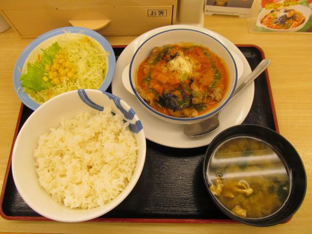 松屋トマトバジルチキン定食ライス大盛