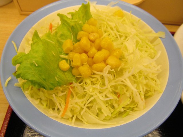 松屋トマトバジルチキン定食の生野菜
