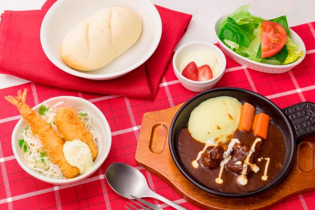 ガストミニビーフシチューとミックスフライの洋食セット