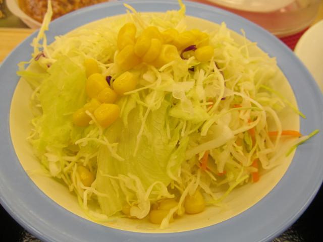 松屋シャンピニオンソースハンバーグ定食の生野菜