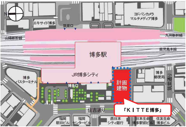 KITTE博多アクセスMAP640