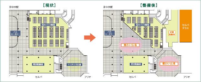 仙台泉中央駅前賑わい広場整備図