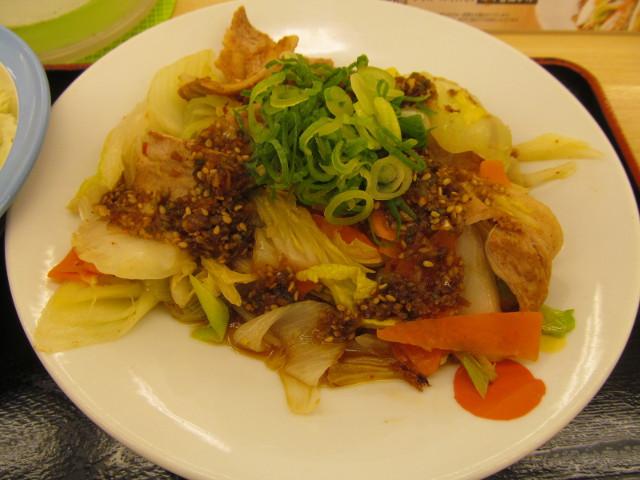 松屋豚肉とたっぷり冬野菜炒めの冬野菜炒め