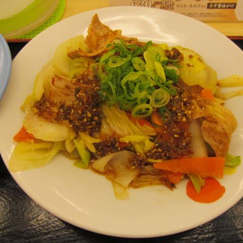 松屋豚肉とたっぷり冬野菜炒めライス大盛無料賞味サムネイル