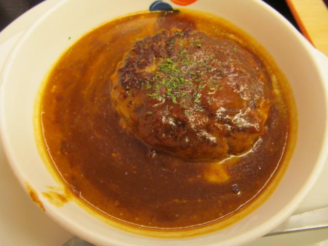 松屋とろーりチーズが入ったデミハンバーグ定食のデミハンバーグ