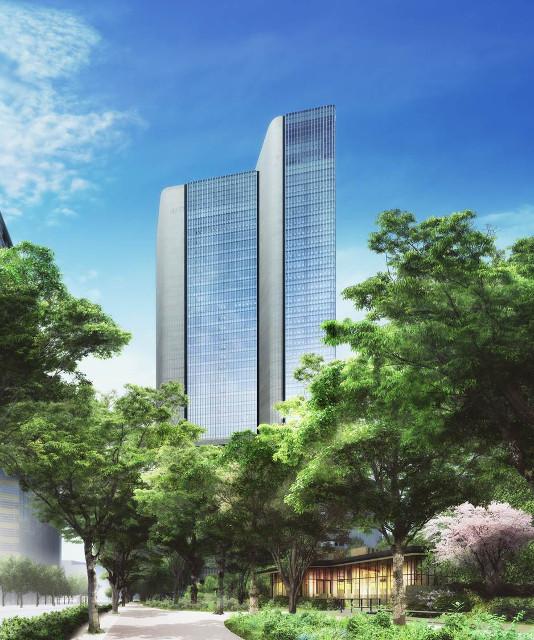 赤坂インターシティAIR緑越しの完成イメージ
