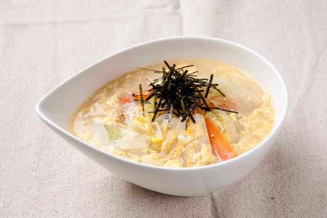 松屋冬野菜と玉子の生姜塩スープごはん写真