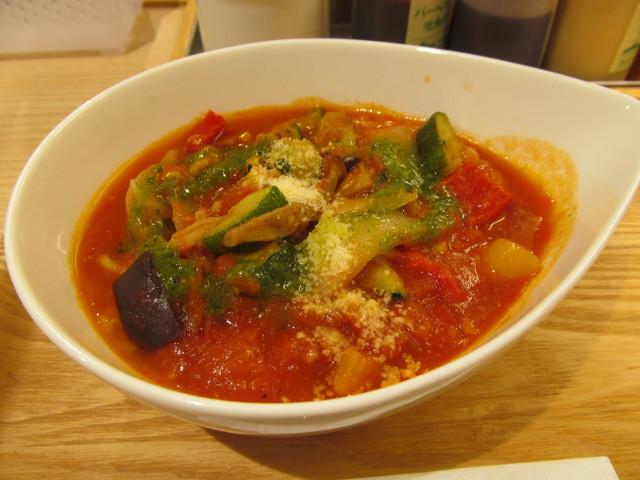 松屋きのこと彩り野菜のトマトスープごはん寄り1