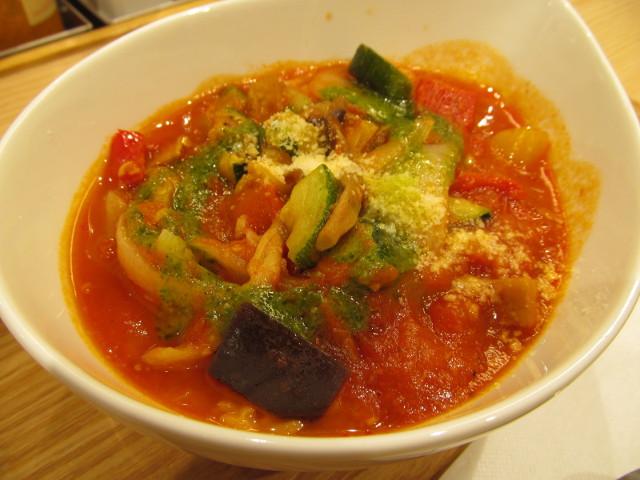 松屋きのこと彩り野菜のトマトスープごはん寄り2