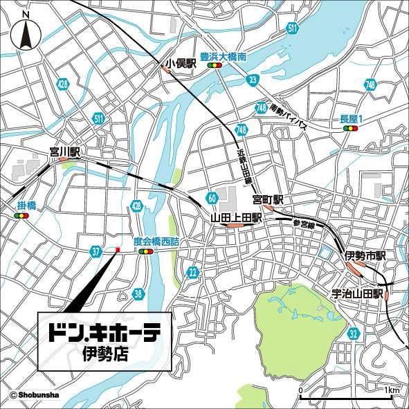 ドンキホーテ伊勢店周辺地図