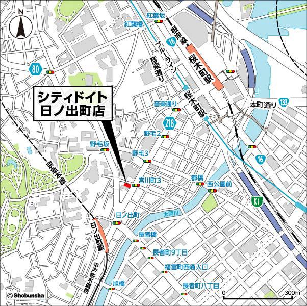 シティドイト日ノ出町店周辺地図