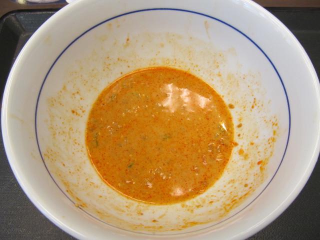 なか卯5種野菜の冷やし担々うどんの残った汁