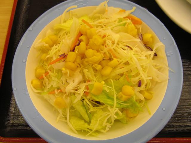 松屋ケイジャンチキン定食の生野菜