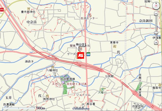 ケーズデンキ熊谷店広域地図