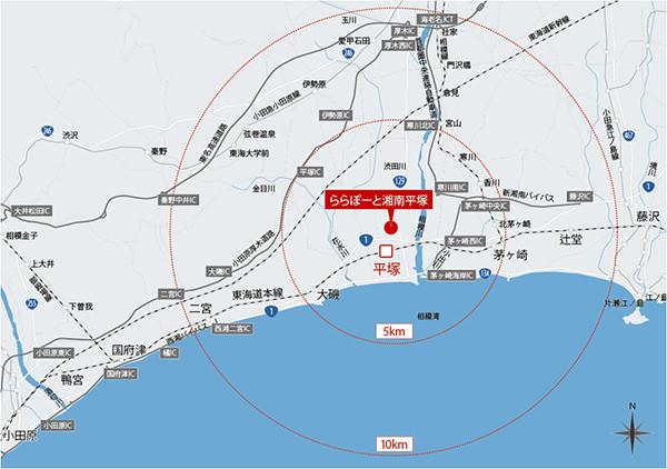 ららぽーと湘南平塚広域地図