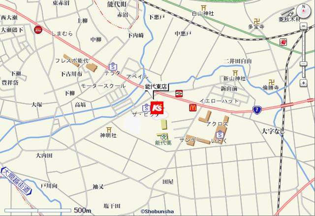ケーズデンキ能代東店地図