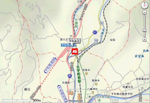 ケーズデンキ宇和島店地図