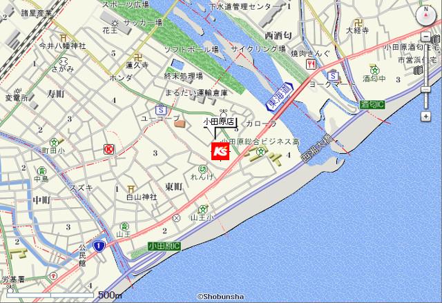 ケーズデンキ小田原店地図