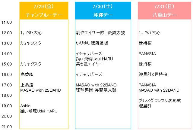 沖縄フードガーデン2016ステージタイムテーブル