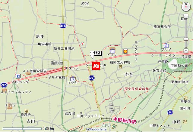 ケーズデンキ中野店地図