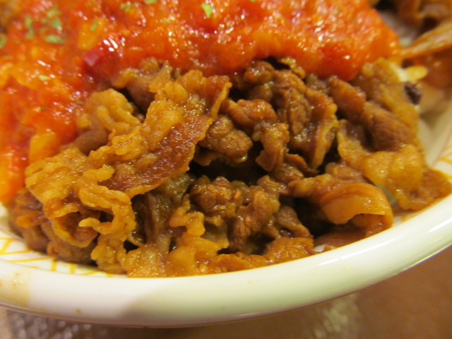 すき家アラビアータ牛丼の牛肉