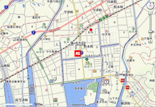 ケーズデンキ福山松永店地図