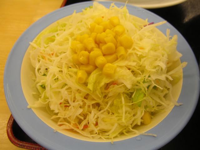 松屋チーズフォンデュハンバーグ定食の生野菜