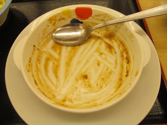 松屋チーズフォンデュハンバーグ定食のソースとライスを完食