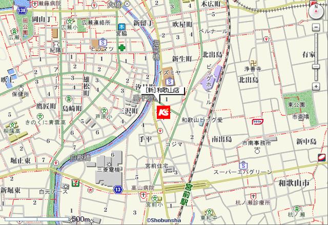 ケーズデンキ新和歌山店地図