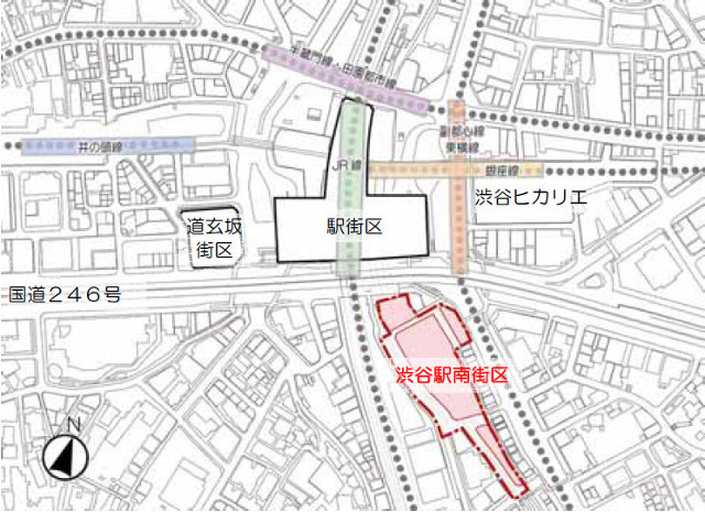 渋谷駅南街区位置図2013年時点640