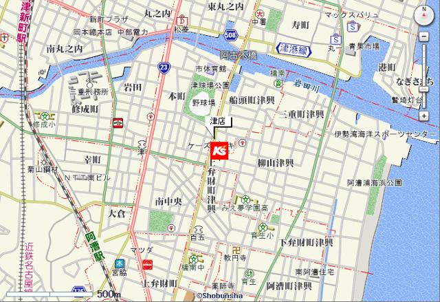 ケーズデンキ津店地図