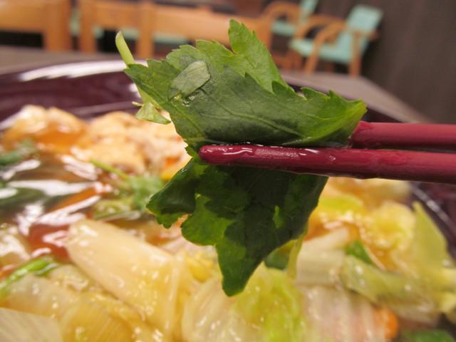 なか卯野菜とゆばのあんかけうどんの三つ葉持ち上げ