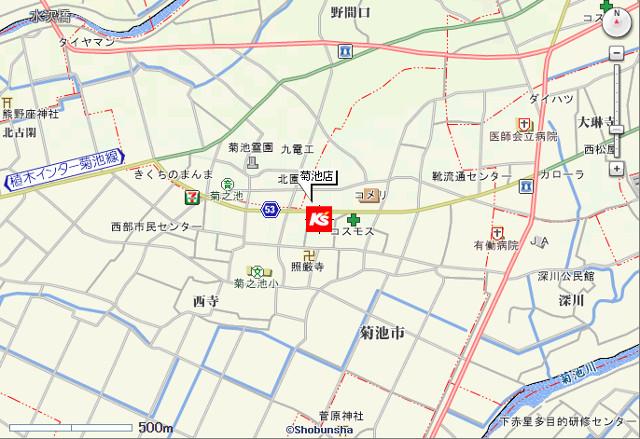 ケーズデンキ菊池店地図