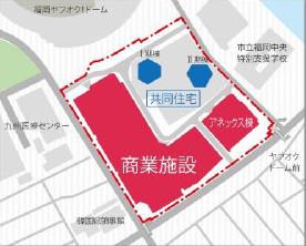 マークイズ福岡HTM計画地拡大図切り抜き