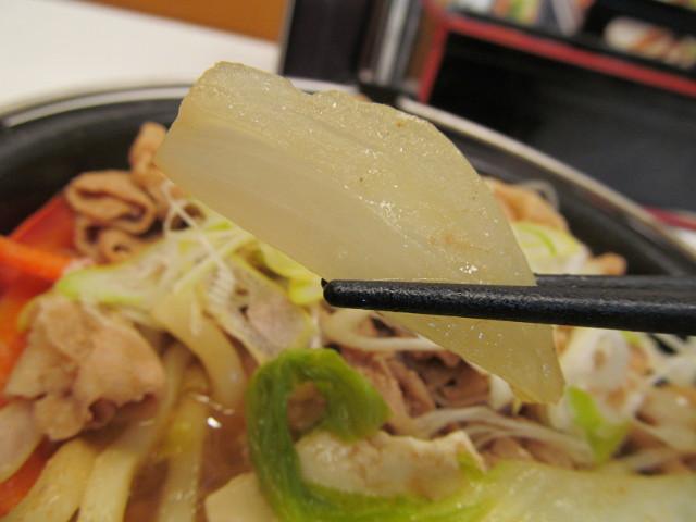 吉野家北海道豚味噌鍋膳の玉ねぎ持ち上げ