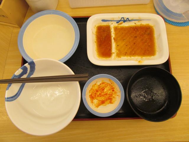 松屋プルコギ定食キムチライス大盛を完食完飲