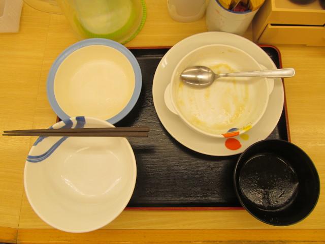 松屋鶏と白菜のクリームシチュー定食ライス大盛無料を完食完飲