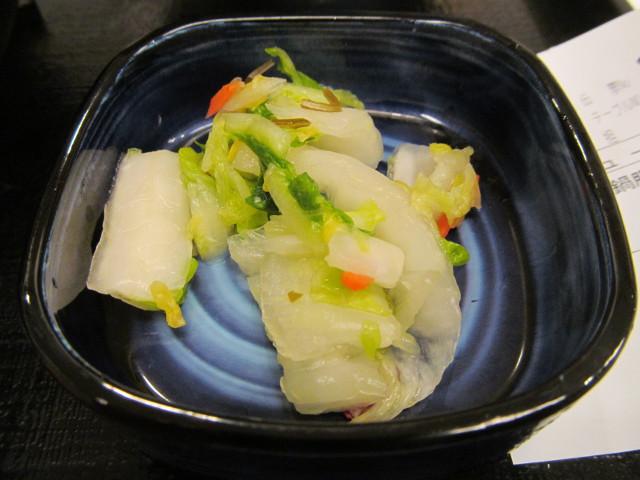 吉野家北海道豚味噌鍋膳の漬物