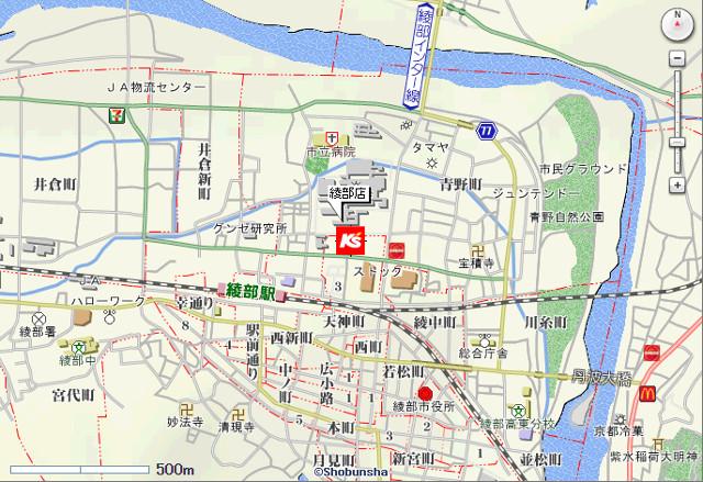ケーズデンキ綾部店地図