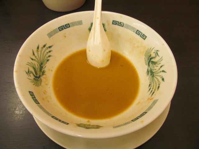日高屋海老味噌ラーメン麺大盛の残ったスープ