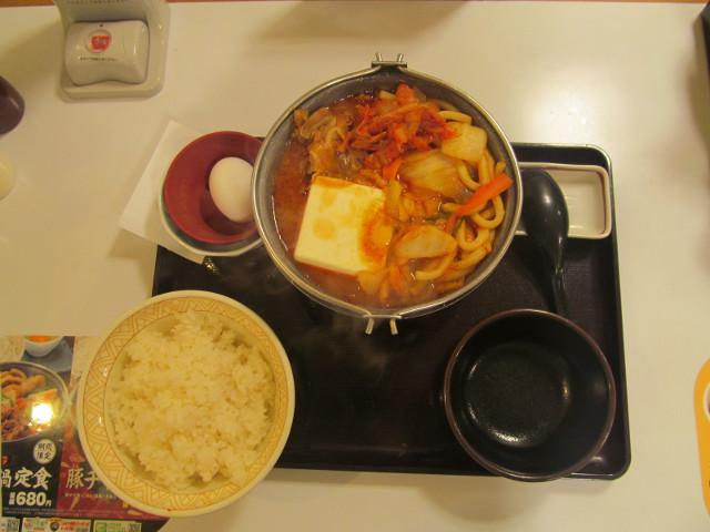すき家豚チゲ鍋定食ごはん大盛一式
