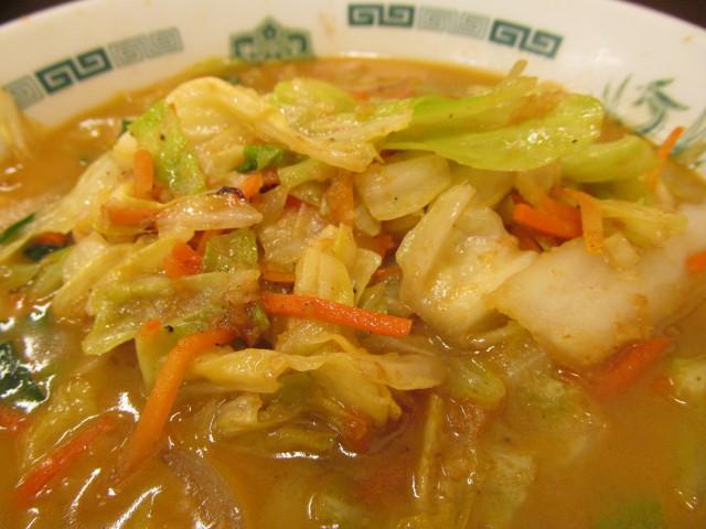 日高屋海老味噌ラーメンの野菜の山