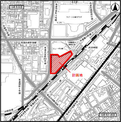川崎駅西口開発計画の計画地20170112
