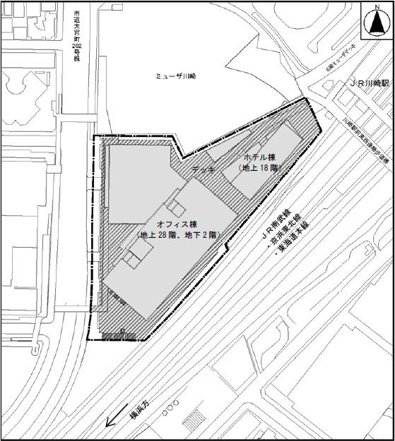 川崎駅西口開発計画建物配置図20170112