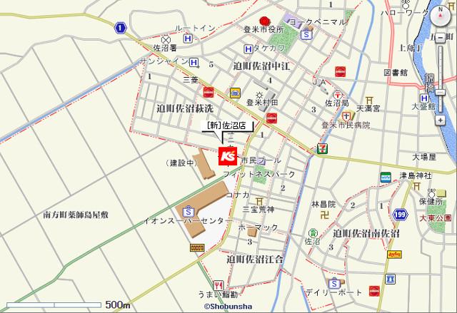 ケーズデンキ新佐沼店地図20170205