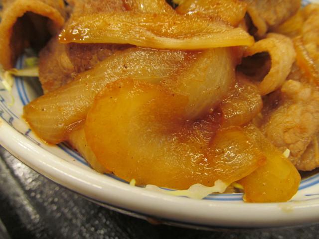 吉野家牛カルビ生姜焼き丼の玉ねぎ