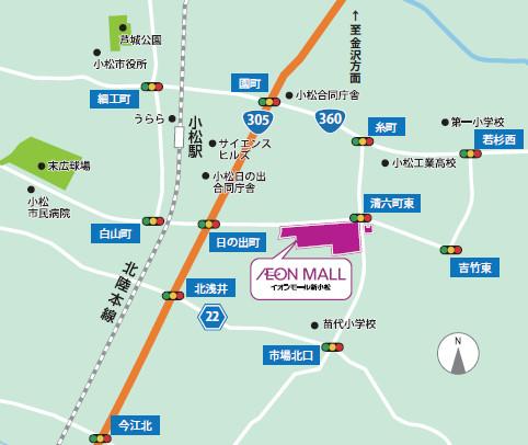 イオンモール新小松近隣地図