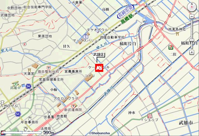 ケーズデンキ武雄店地図